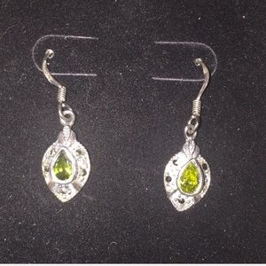 Sterling Silver Teardrop Earrings w/ Green Stone